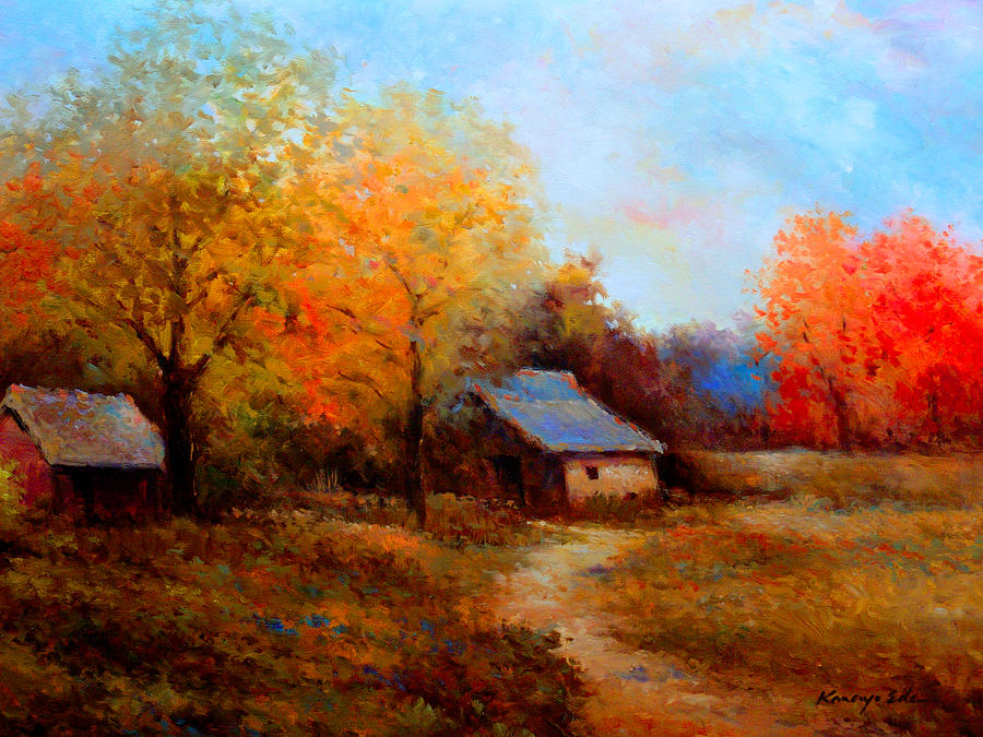 Farm House Painting - Old Barn - luscious fall colors and earth tones by Kanayo Ede