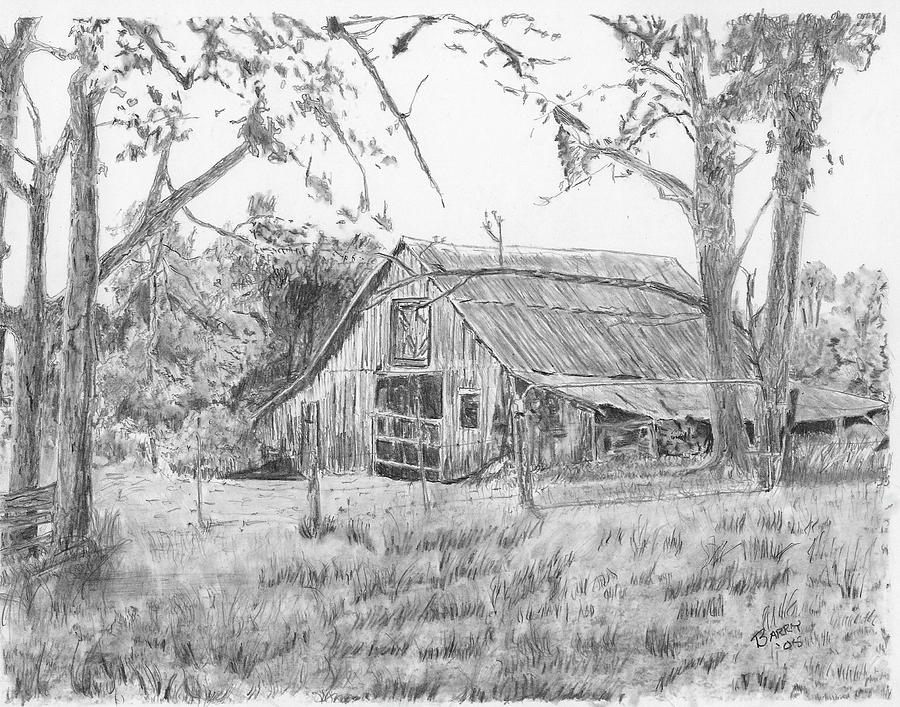 Old Barn Drawing - Old Barn 2 by Barry Jones