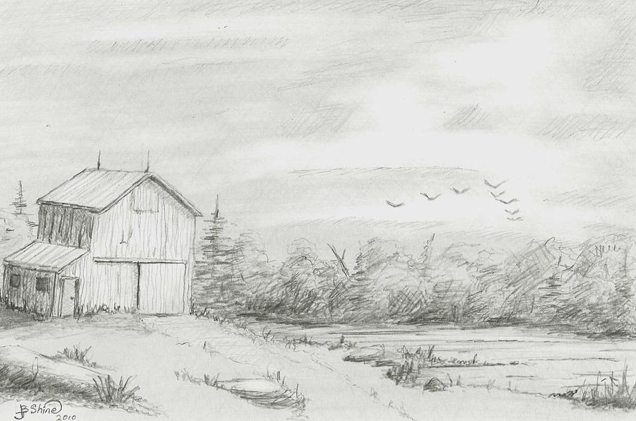Old Barn Drawing - Old Barn 2 by BJ Shine