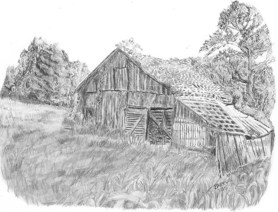 Old Barn Drawing - Old Barn 3 by Barry Jones