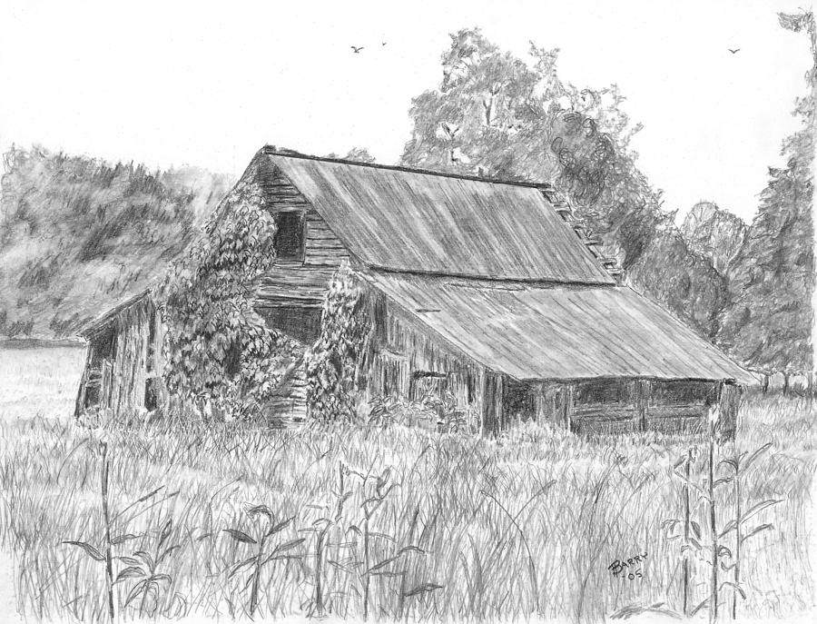 Barn Drawing - Old Barn 4 by Barry Jones
