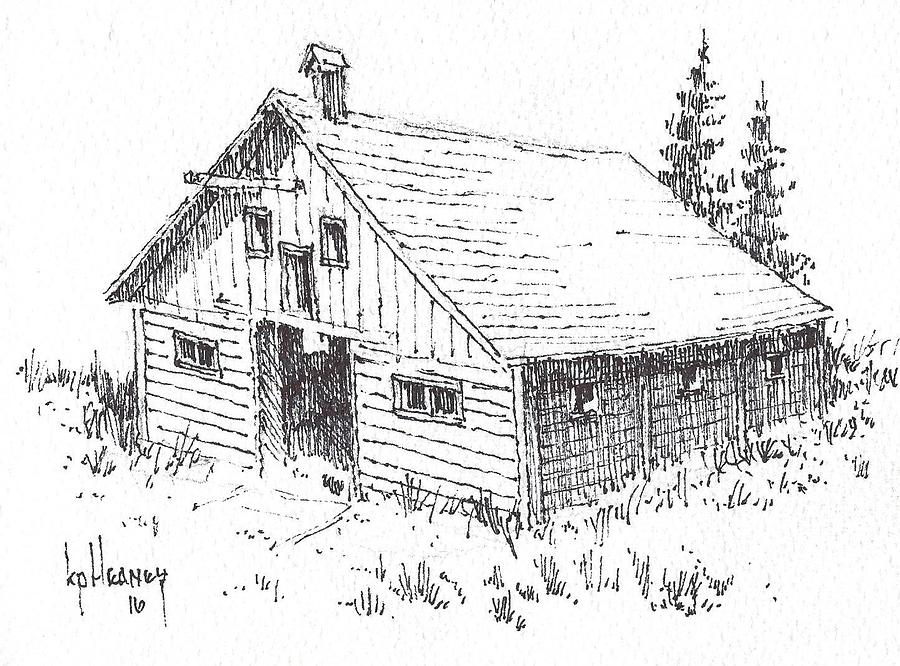 Ghost Town Drawing - Old Barn Cable Ghost Town Montana by Kevin Heaney