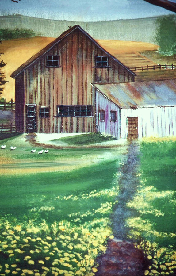 Old Barn Painting by Eileen Blair