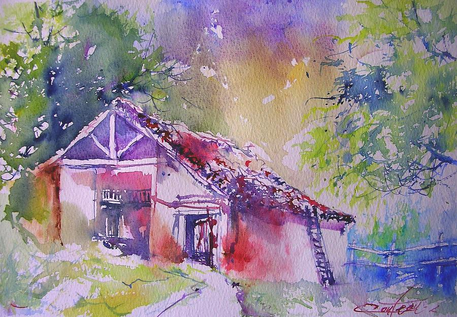 Watercolor Painting - old barn in France by Christian Couteau