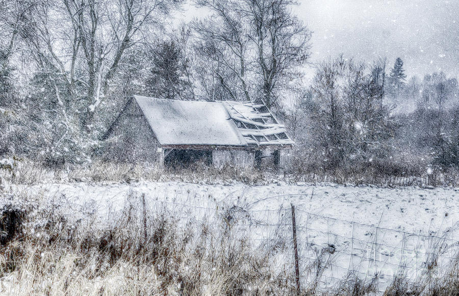 Old Barn in Winter by Julie Chambers