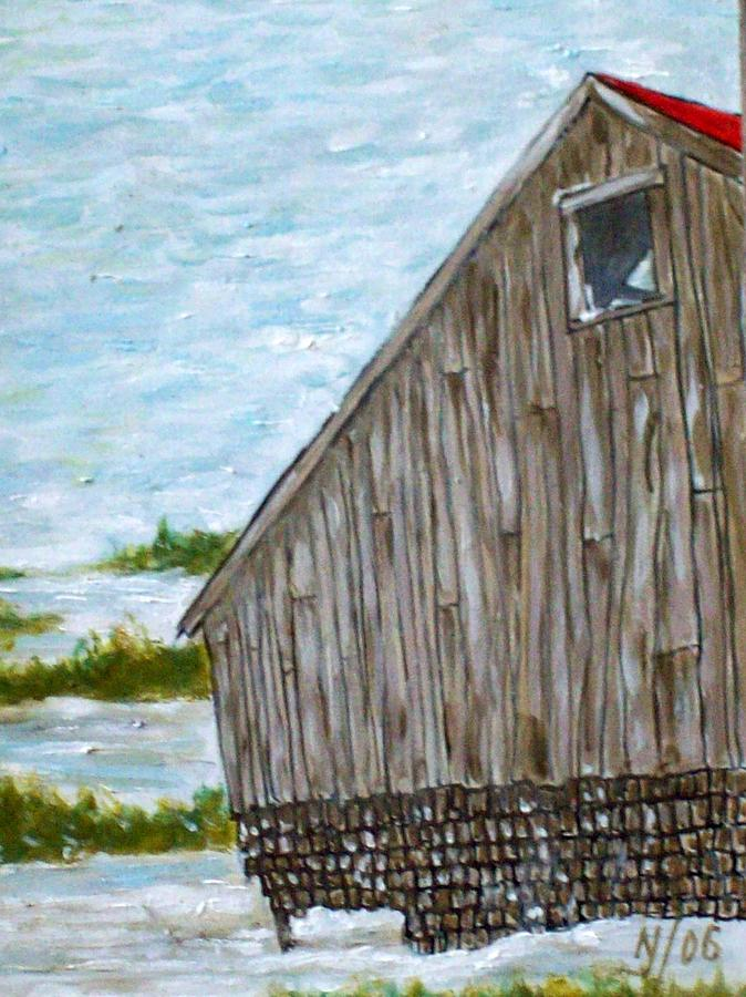 Barn Painting - Old Barn In Winter by Norman F Jackson