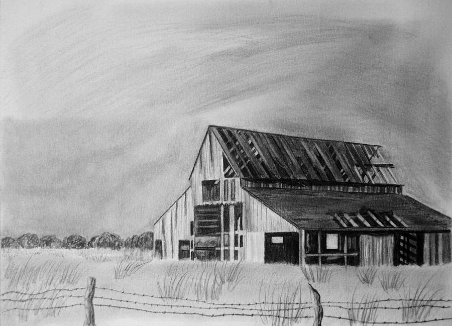 Old Barn Drawing By Jeff Noble