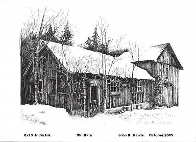 Old Barn Drawing by John  R Harris