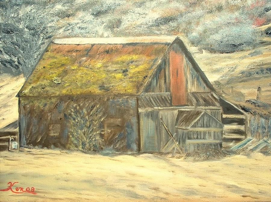 Old Barn Mossey Roof Painting by Kenneth LePoidevin