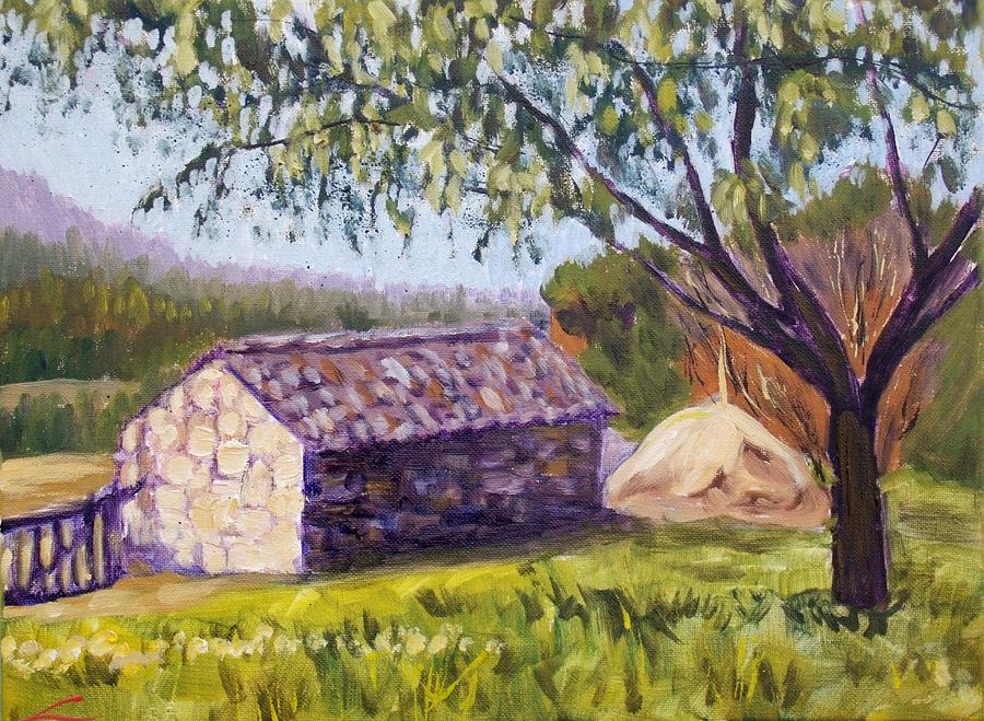 Old Barn Near Pedraza Painting