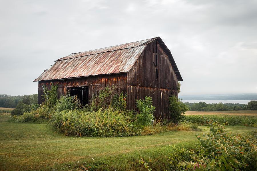 Barn Photograph - Old Barn On Seneca Lake - Finger Lakes - New York State by Gary Heller