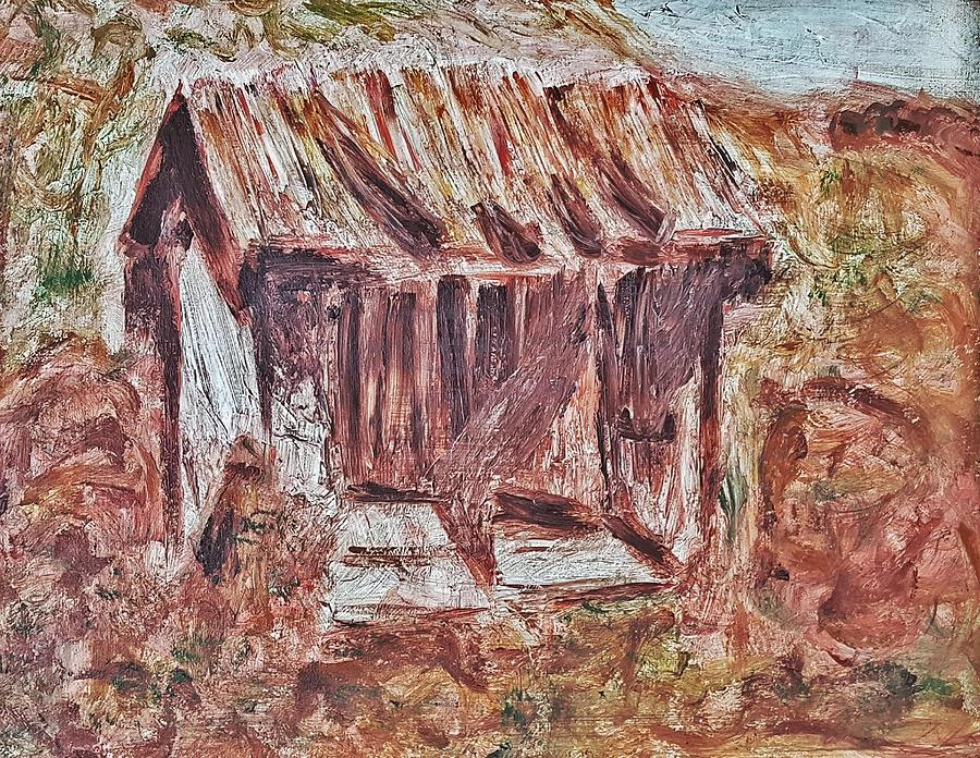 Old Barn Painting - Old Barn outhouse falling apart in decay and dilapidation rotting wood overgrown mountain valley sce by MendyZ