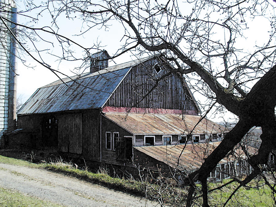 Farmstead Photograph - Old Barn With Tree Watercolor by Laurie With