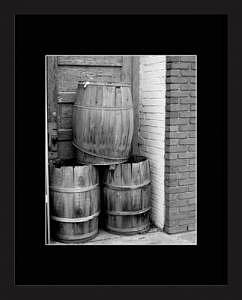 Old Barrels Photograph - Old Barrels - Black And White by Brooke Chao