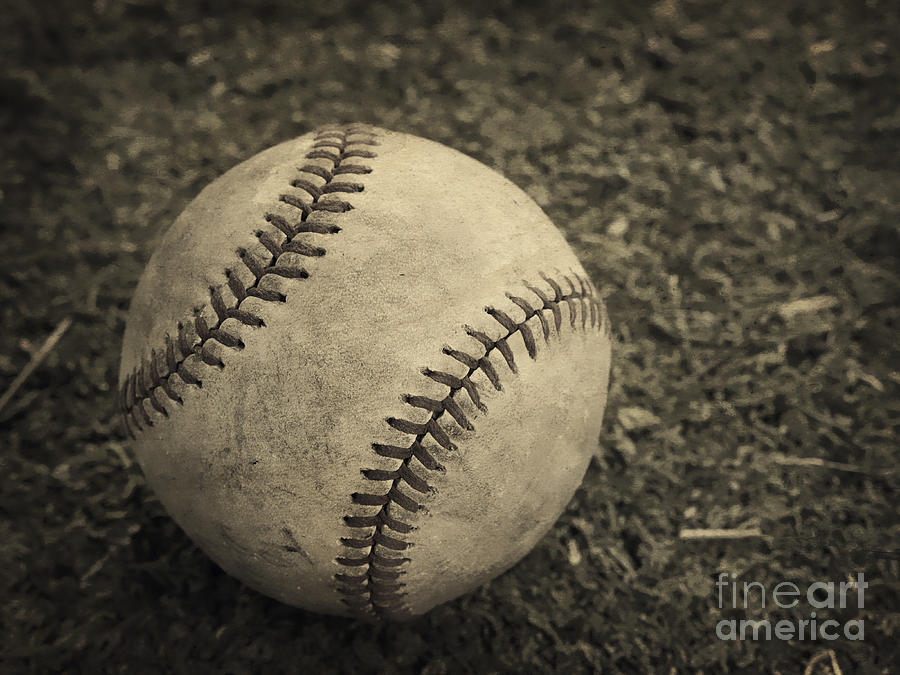Base Photograph - Old Baseball by Edward Fielding