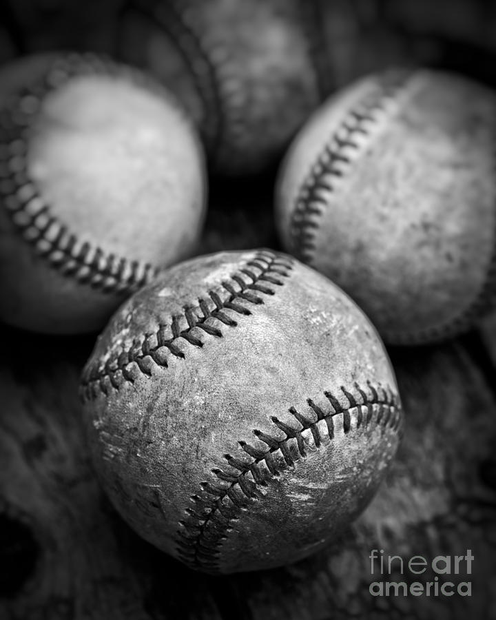 Ball Photograph - Old Baseballs In Black And White by Edward Fielding