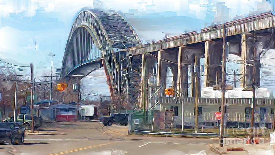 Bayonne Bridge Digital Art - Old Bayonne Bridge by Rod Pena