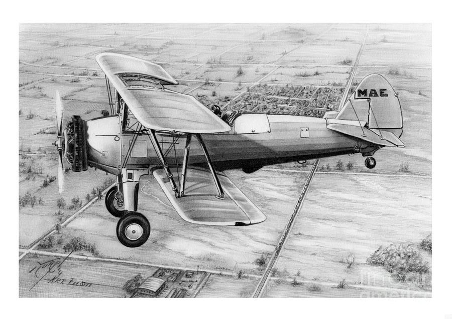 Pencil Drawing - Old Bi Plane by Murphy Elliott