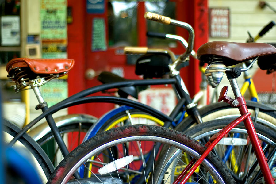 Red Photograph - Old Bikes by John Gusky