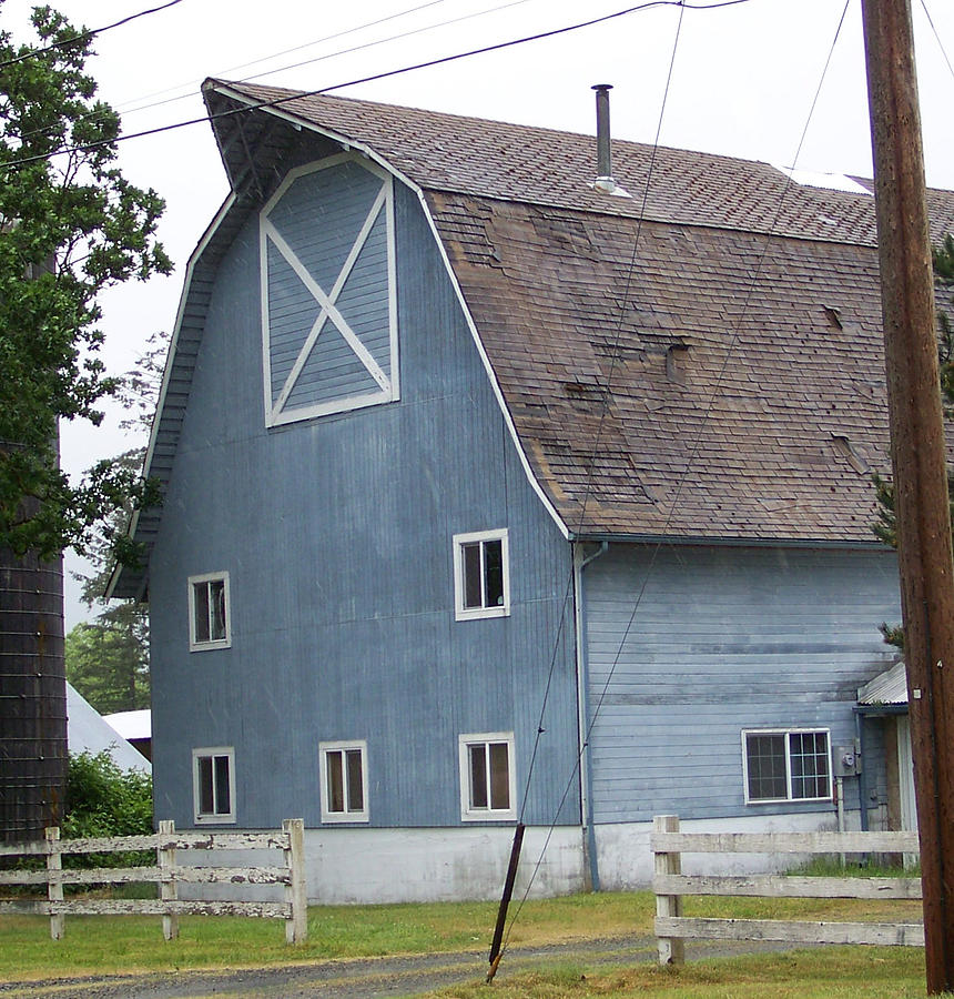 Old Photograph - Old Blue Barn Littlerock Washington by Laurie Kidd