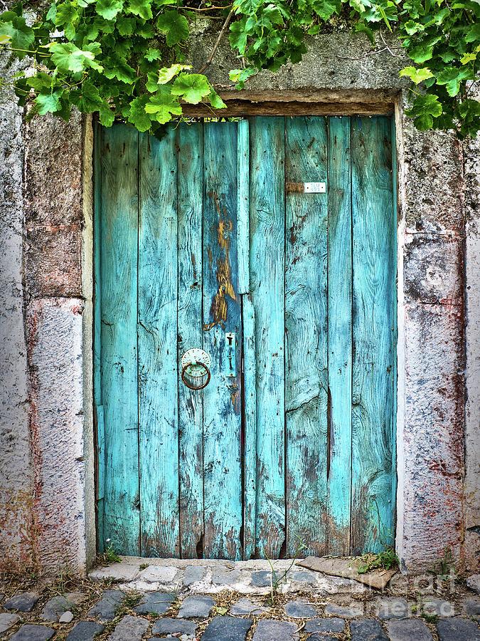 Door Photograph - Old Blue Door by Delphimages Photo Creations