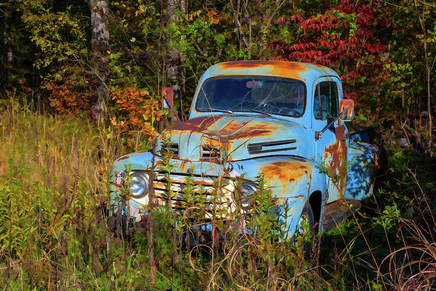 Old Blue Ford Truck Photograph