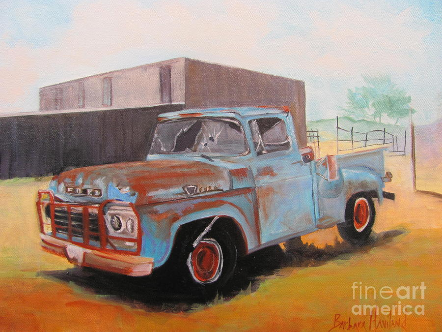 Old Blue Ford Truck Painting by Barbara Haviland