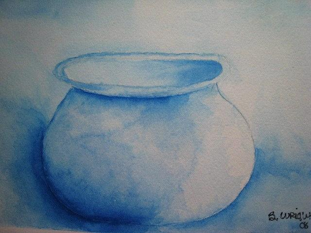 Blue Painting - Old Blue Pot by Bonnie Wright