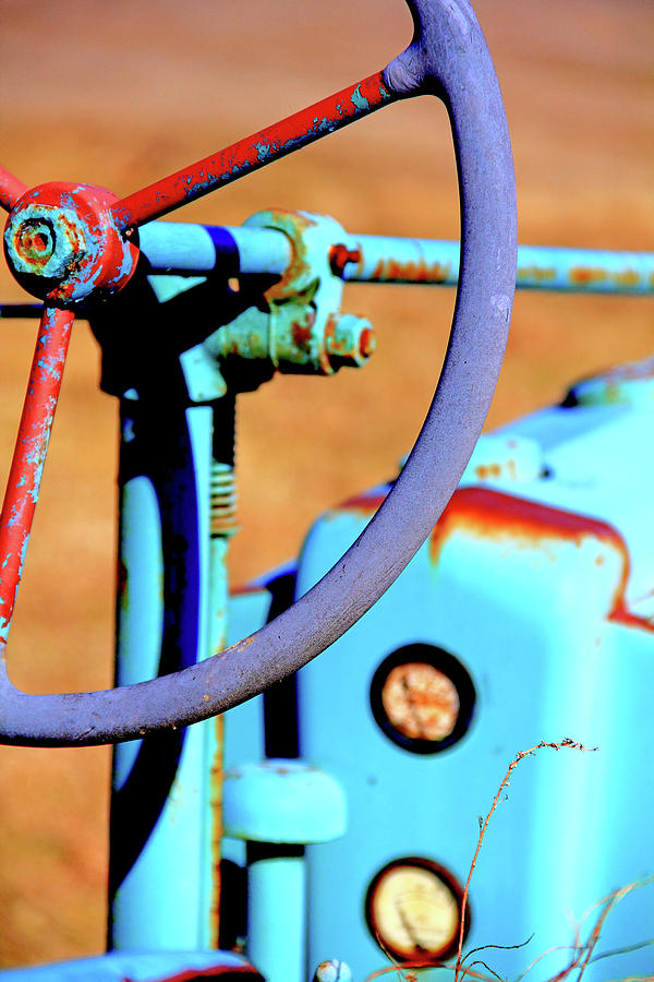 Tractor Photograph - Old Blue Tractor by Brian Pflanz