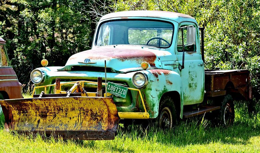 Old Blue Truck Snowplow Photograph