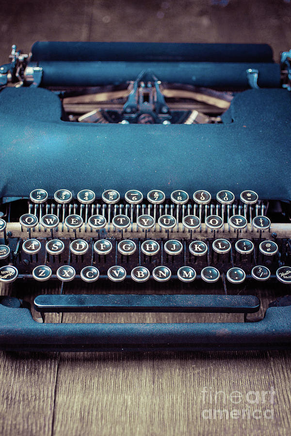 Still Life Photograph - Old Blue Typewriter by Edward Fielding