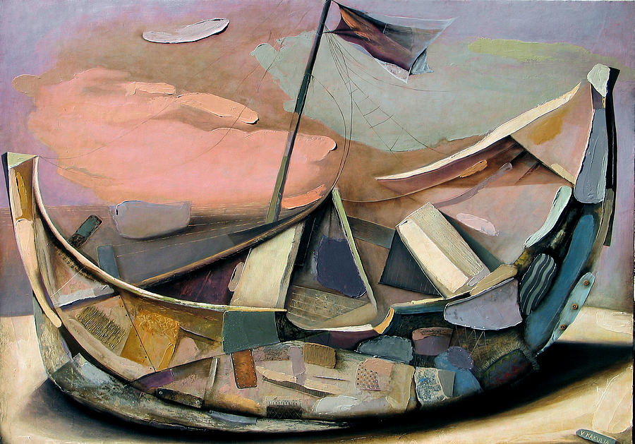 Old Boat Painting by Vakho Kakulia