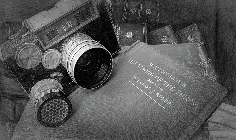 Old Books And Cameras Photograph