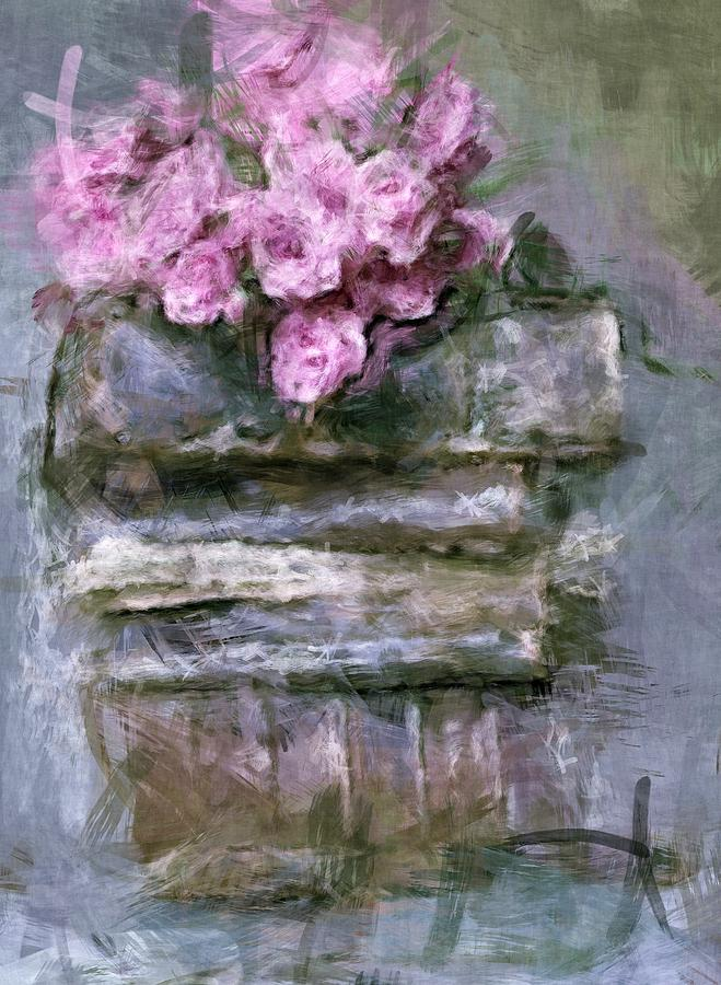 Old Digital Art - Old Books And Pink Roses by Tanya Gordeeva