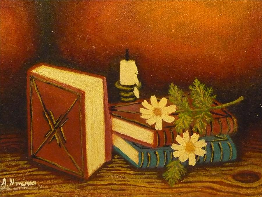 Still Life Painting - Old Books by Anna Dionia