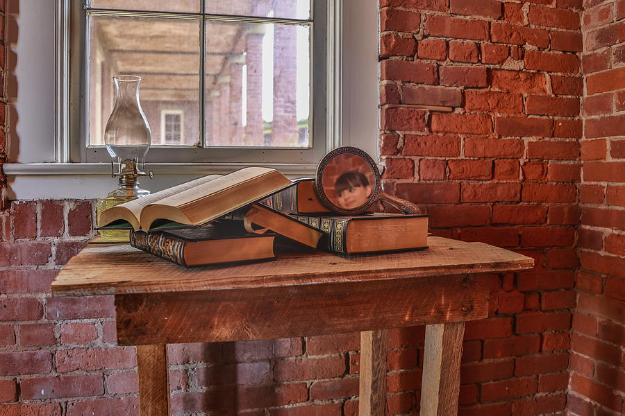 The Face Of God Photograph - Old Books In Old Classroom by Paula Porterfield-Izzo