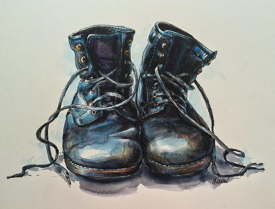 e3aa658d3466 Old Boots Drawing by Christine Karron
