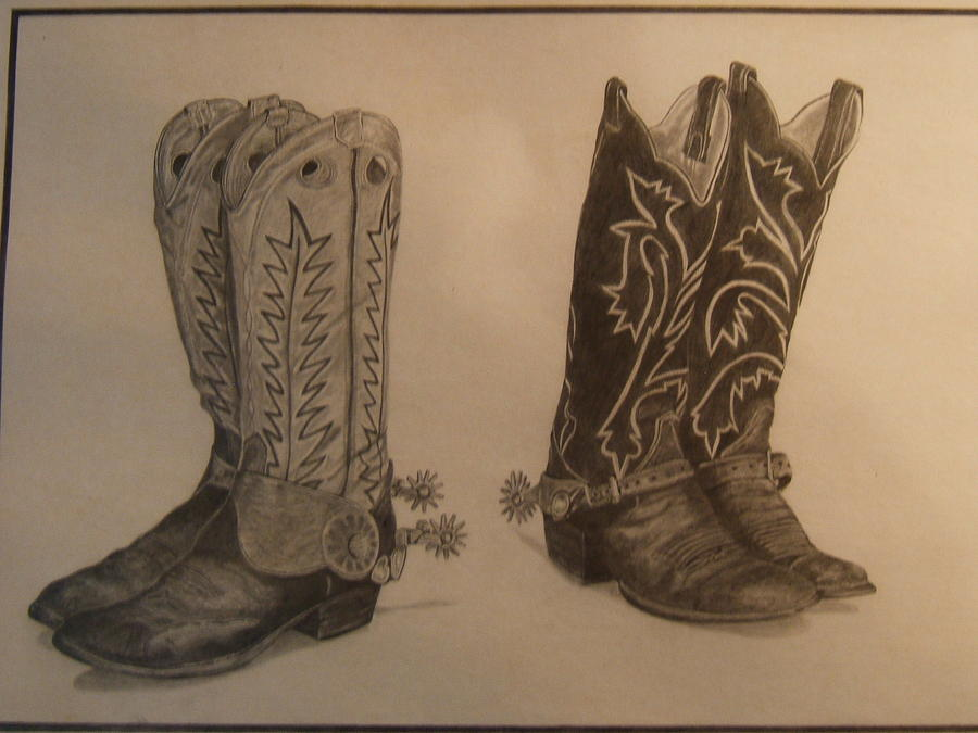 Working Boots Drawing - Old Boots by Larry Valdez