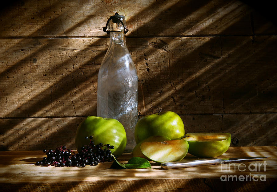 Apple Photograph - Old Bottle With Green Apples by Sandra Cunningham