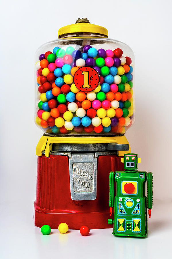 Candy Photograph - Old Bubblegum Machine And Green Robot by Garry Gay