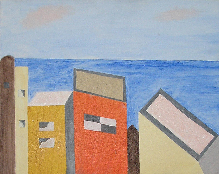 Seaside Mixed Media - Old Buildings At The Seashore by Harris Gulko