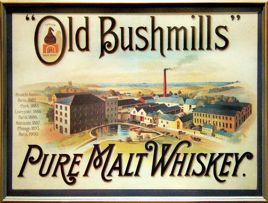 Old Photograph - Old Bushmills Irish Whiskey. Old Advertising Poster by David Lyons