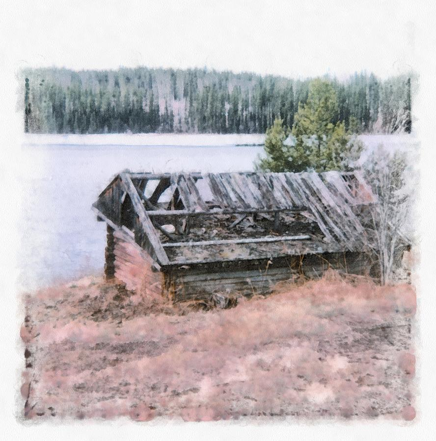 Cottage Photograph - Old Cabin By The Lake by John Winner