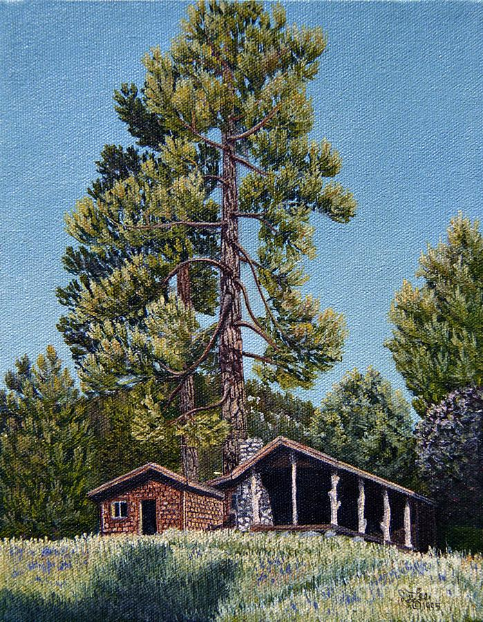 Landscapes Painting - Old Cabin In The Pines by Jiji Lee