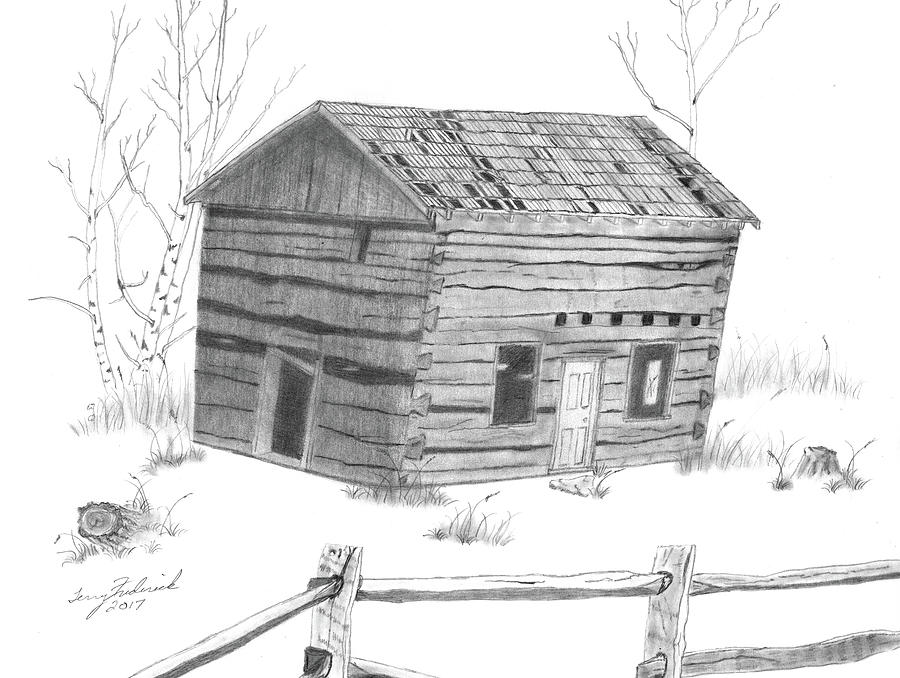 Old Cabin Drawing By Terry Frederick