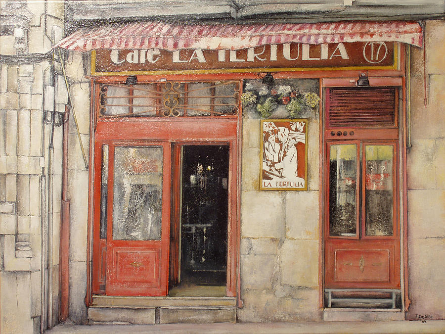 Cafe Painting - Old Cafe- Santander Spain by Tomas Castano