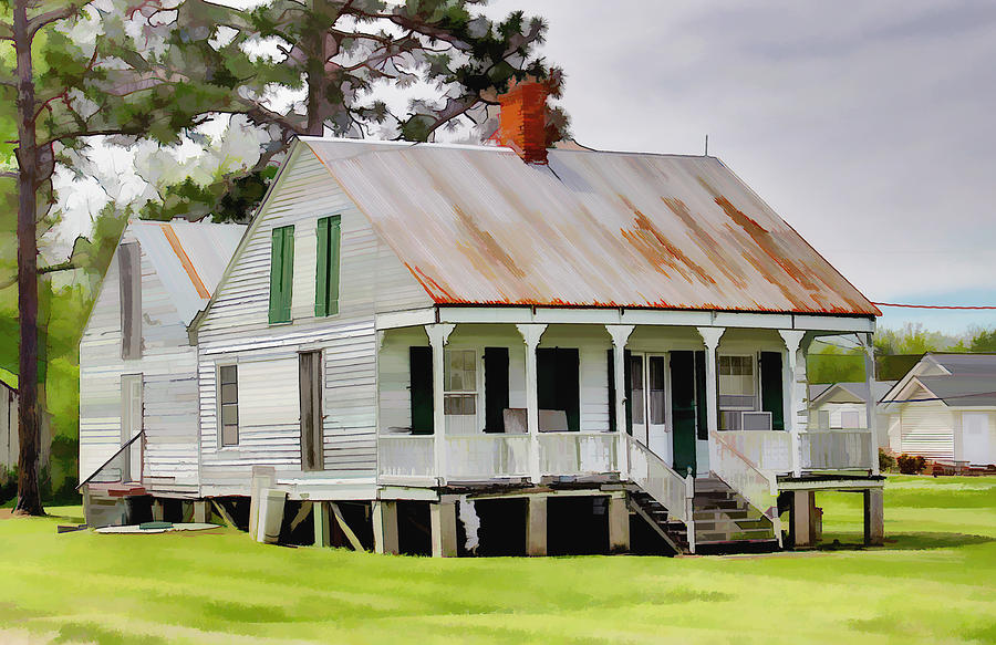 Old cajun house digital art by shane adams Cajun cottage plans