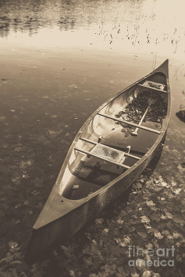 Boat Photograph - Old Canoe On A Lake Eastman Pond Grantham New Hampshire by Edward Fielding