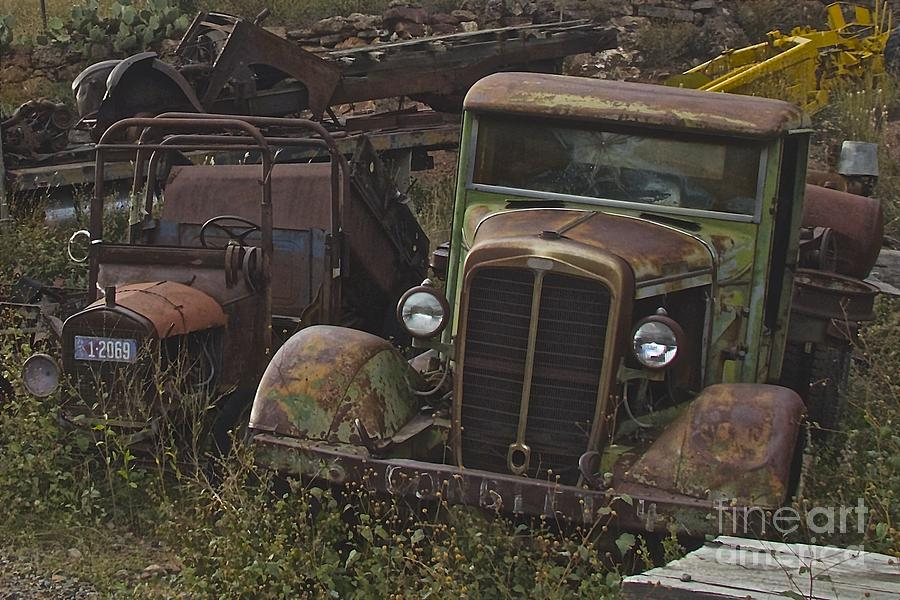 Old Truck Photograph - Old Car And Truck by Anthony Jones