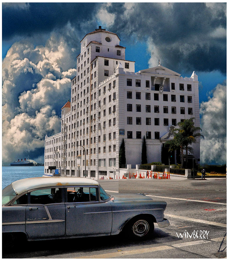 Long Beach Digital Art - Old Car In Long Beach by Bob Winberry
